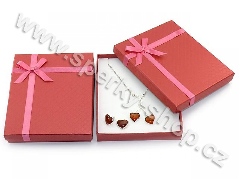 Dárková krabička na šperky větší červená (papír) - sperky-shop.cz 77c7ece65c8